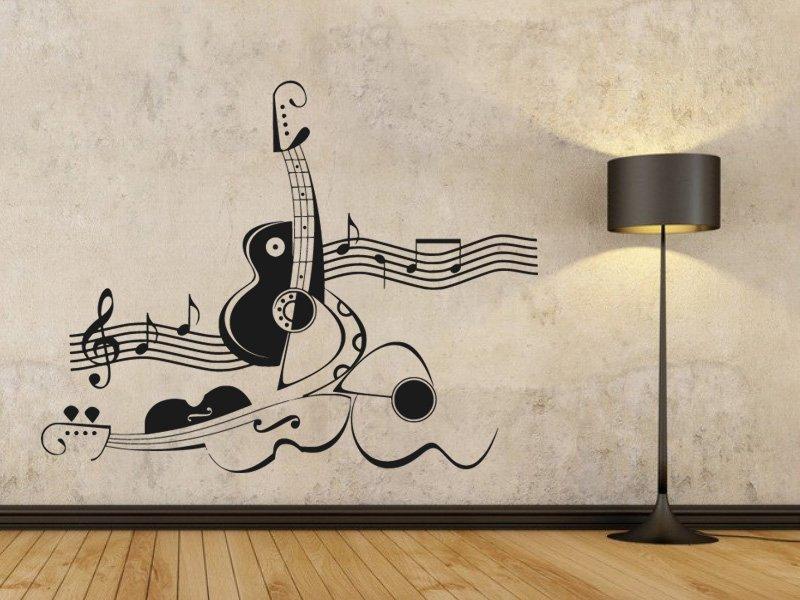 Samolepky na zeď Kytara 011 - Samolepící dekorace a nálepka na stěnu