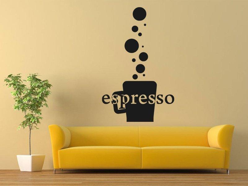 Samolepky na zeď Káva espresso 0110 - Samolepící dekorace a nálepka na stěnu