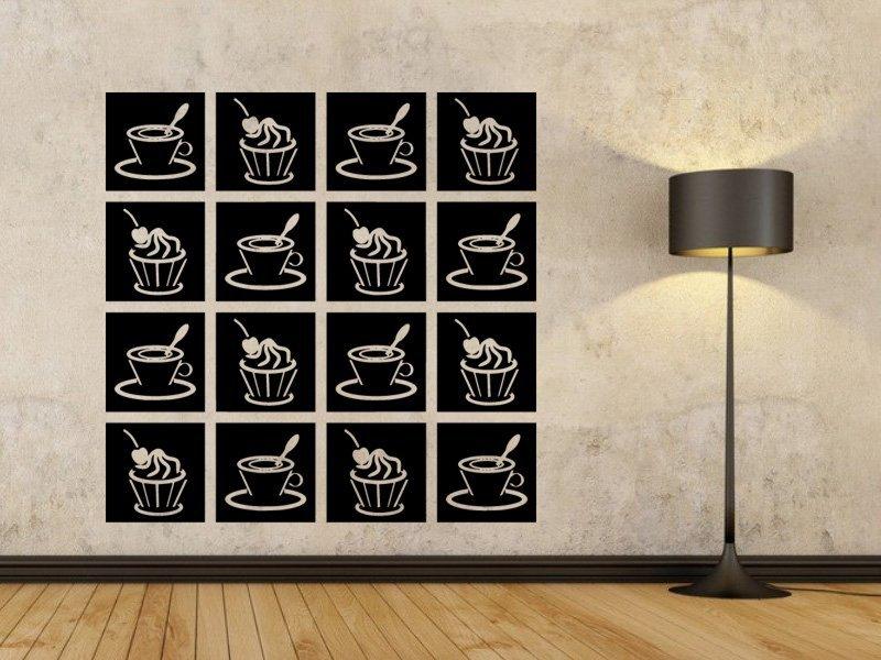 Samolepky na zeď Káva a cupcake 0044 - Samolepící dekorace a nálepka na stěnu