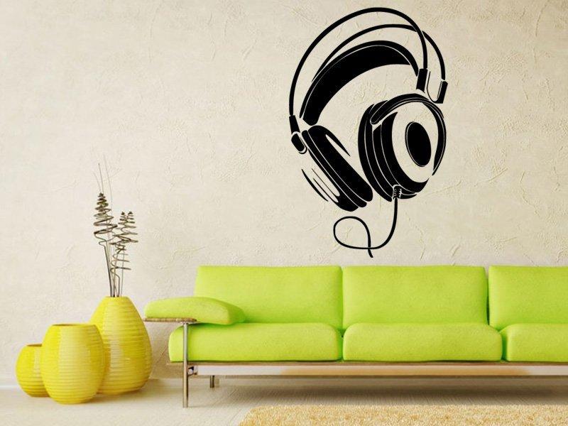 Samolepky na zeď Sluchátka 001 - Samolepící dekorace a nálepka na stěnu