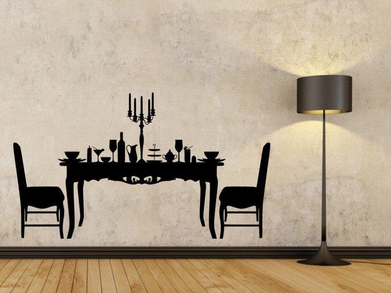 Samolepky na zeď Prostřený stůl 0113 - Samolepící dekorace a nálepka na stěnu