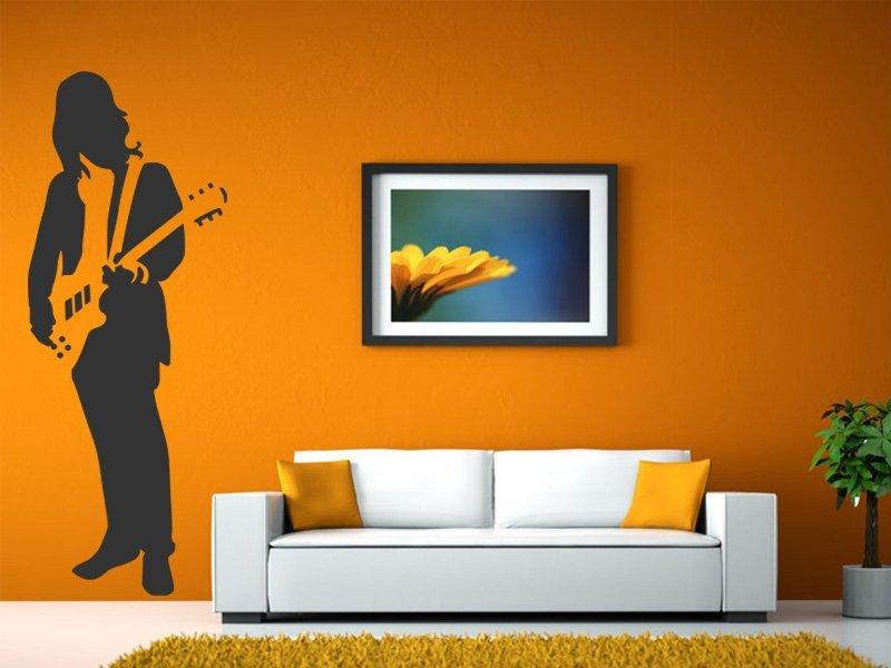 Samolepky na zeď Kytarista 009 - Samolepící dekorace a nálepka na stěnu