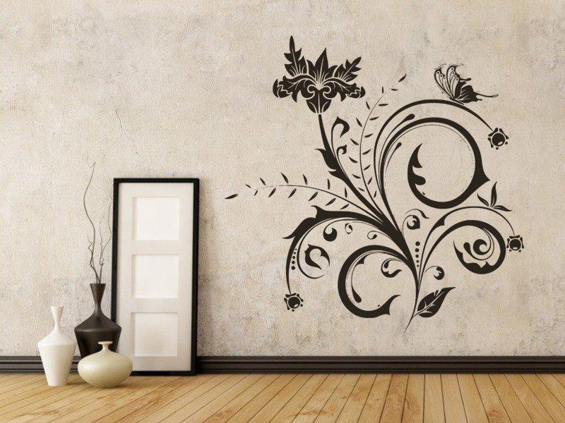 Samolepky na zeď Květiny s motýly 014 - Samolepící dekorace a nálepka na stěnu