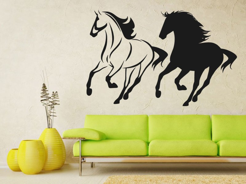 Samolepky na zeď Dva koně 0330 - Samolepící dekorace a nálepka na stěnu