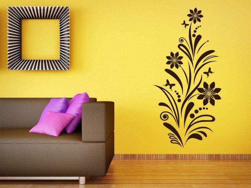 Samolepky na zeď Květiny s motýly 006 - Samolepící dekorace a nálepka na stěnu