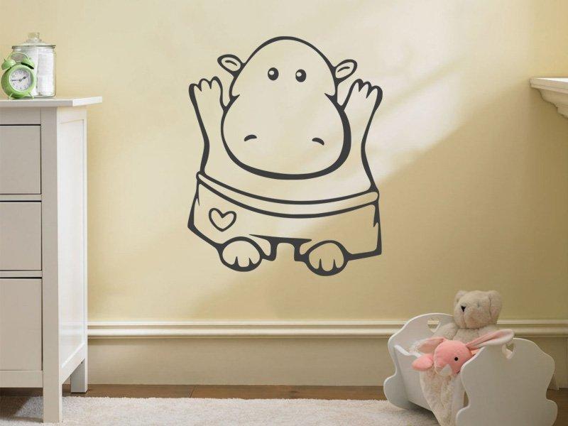 Samolepky na zeď Hrošík 001 - Samolepící dekorace a nálepka na stěnu