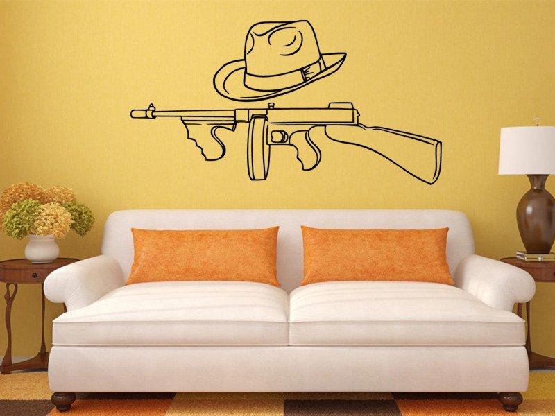 Samolepky na zeď Gangsterská zbraň a klobouk 1122 - Samolepící dekorace a nálepka na stěnu