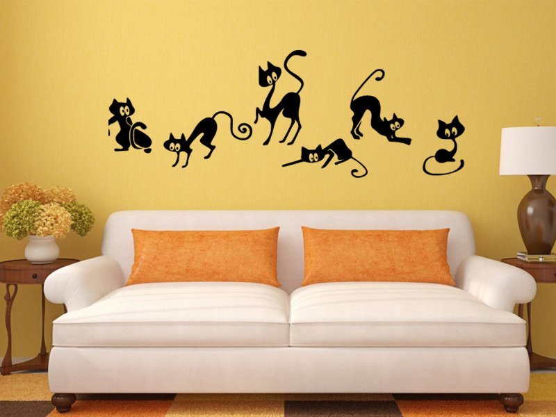 Samolepky na zeď Kočička 004 - Samolepící dekorace a nálepka na stěnu