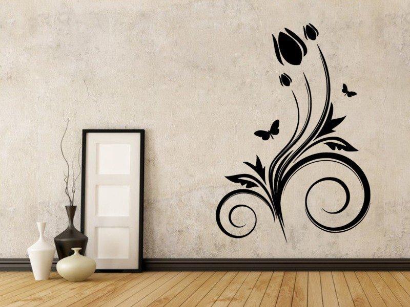 Samolepky na zeď Květiny s motýly 021 - Samolepící dekorace a nálepka na stěnu