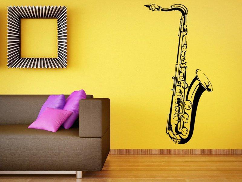 Samolepky na zeď Saxofon 001 - Samolepící dekorace a nálepka na stěnu