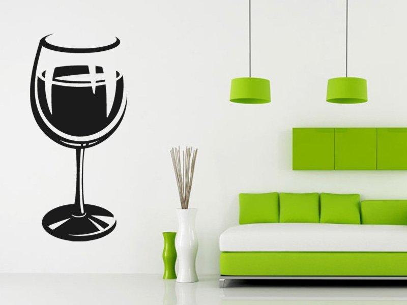 Samolepky na zeď Sklenice na víno 0077 - Samolepící dekorace a nálepka na stěnu