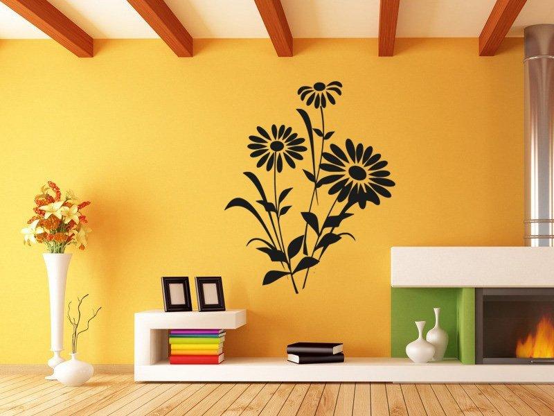 Samolepky na zeď Kopretiny 001 - Samolepící dekorace a nálepka na stěnu