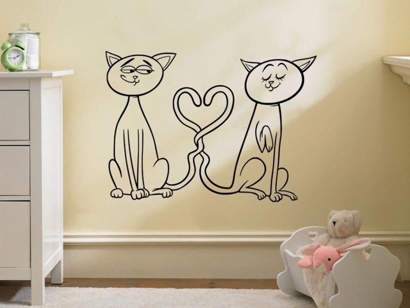 Samolepky na zeď Zamilované kočičky 0520 - Samolepící dekorace a nálepka na stěnu
