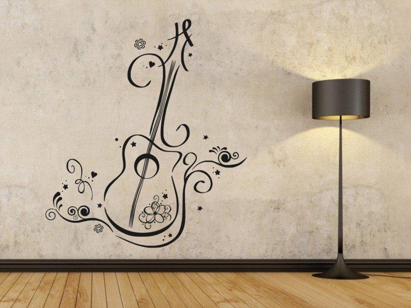 Samolepky na zeď Kytara 007 - Samolepící dekorace a nálepka na stěnu