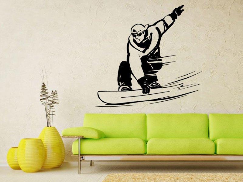 Samolepky na zeď Snowboardista 004 - Samolepící dekorace a nálepka na stěnu