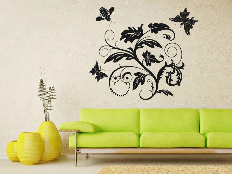 Samolepky na zeď Květiny s motýly 011 - Samolepící dekorace a nálepka na stěnu
