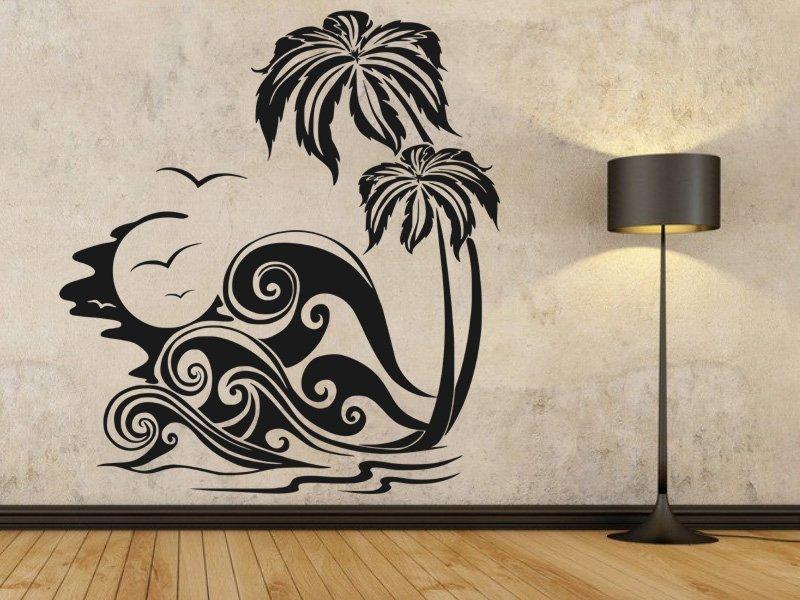 Samolepky na zeď Palmy 006 - Samolepící dekorace a nálepka na stěnu
