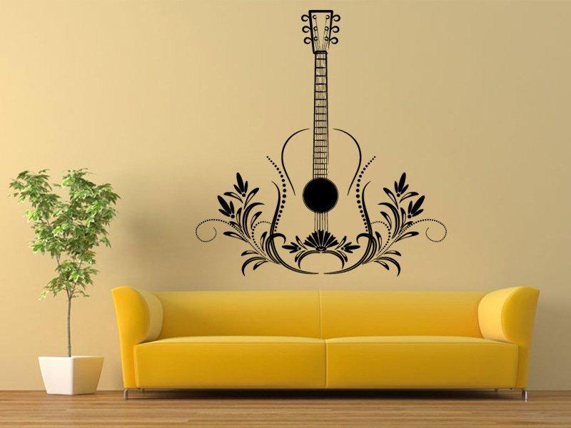 Samolepky na zeď Kytara 006 - Samolepící dekorace a nálepka na stěnu