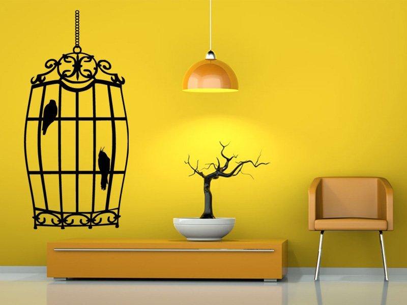 Samolepky na zeď Ptáci v kleci 0242 - Samolepící dekorace a nálepka na stěnu