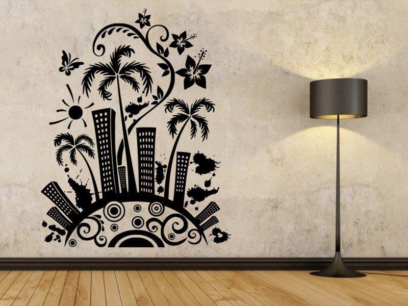 Samolepky na zeď Město s palmami 0207 - Samolepící dekorace a nálepka na stěnu