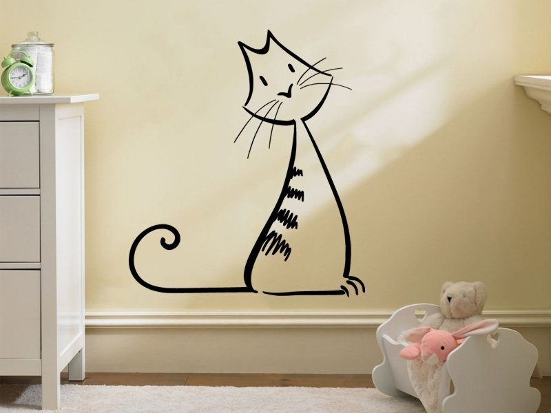 Samolepky na zeď Kočka 0495 - Samolepící dekorace a nálepka na stěnu