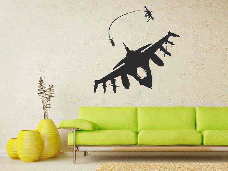 Samolepky na zeď Stíhačka 001 - Samolepící dekorace a nálepka na stěnu