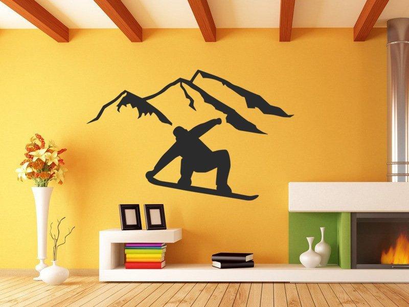 Samolepky na zeď Snowboardista 0968 - Samolepící dekorace a nálepka na stěnu