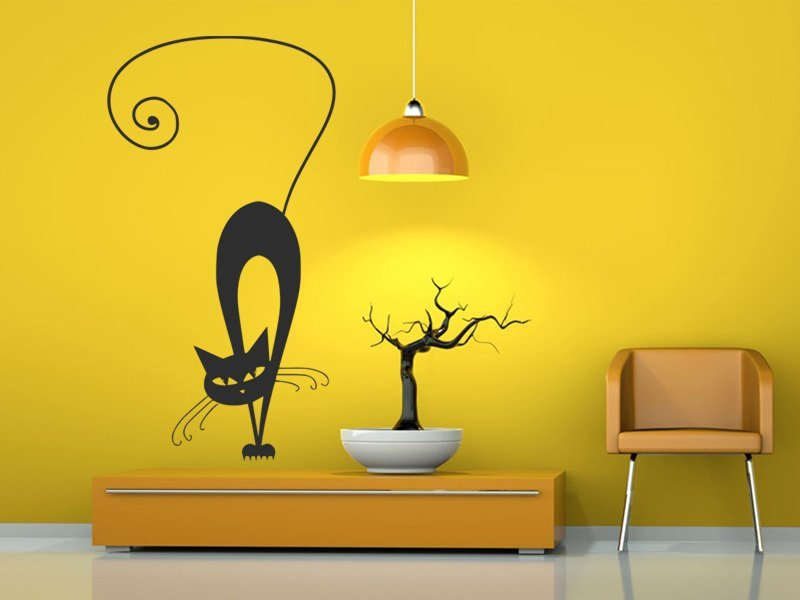 Samolepky na zeď Kočka 010 - Samolepící dekorace a nálepka na stěnu
