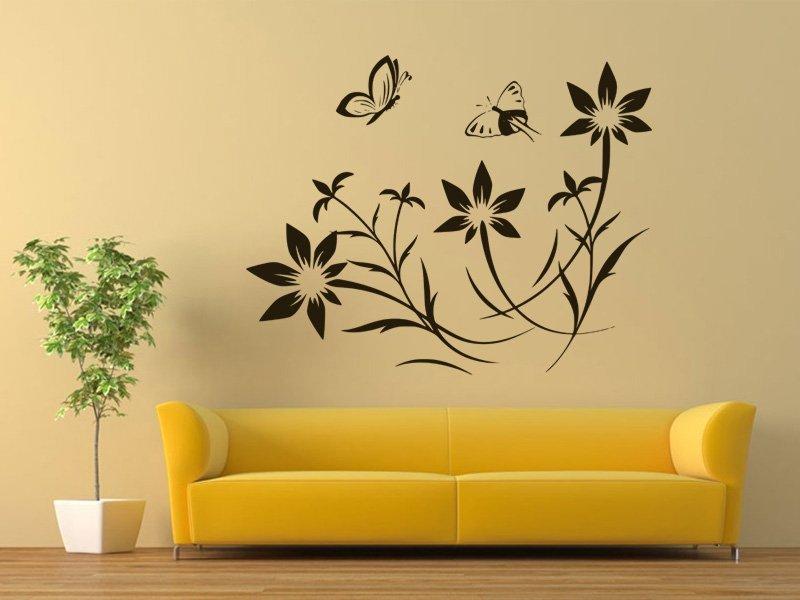 Samolepky na zeď Květiny s motýly 008 - Samolepící dekorace a nálepka na stěnu