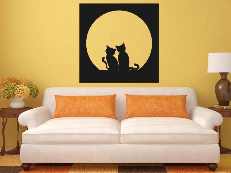 Samolepky na zeď Dvě kočky 0435 - Samolepící dekorace a nálepka na stěnu