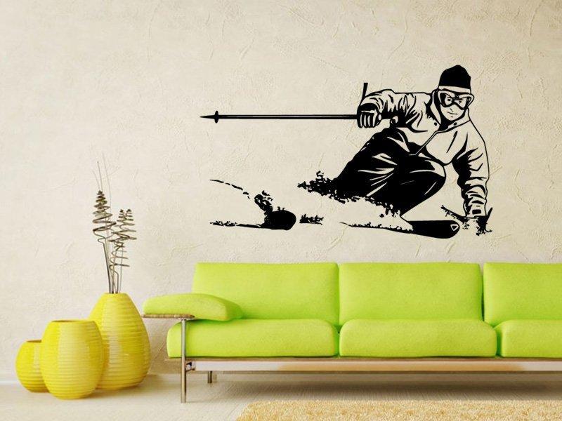 Samolepky na zeď Lyžař 002 - Samolepící dekorace a nálepka na stěnu