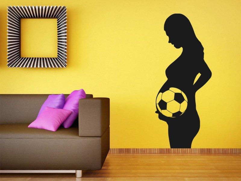 Samolepky na zeď Těhotná s fotbalistou 0574 - Samolepící dekorace a nálepka na stěnu