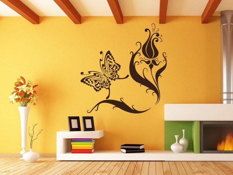 Samolepky na zeď Květiny s motýly 007 - Samolepící dekorace a nálepka na stěnu