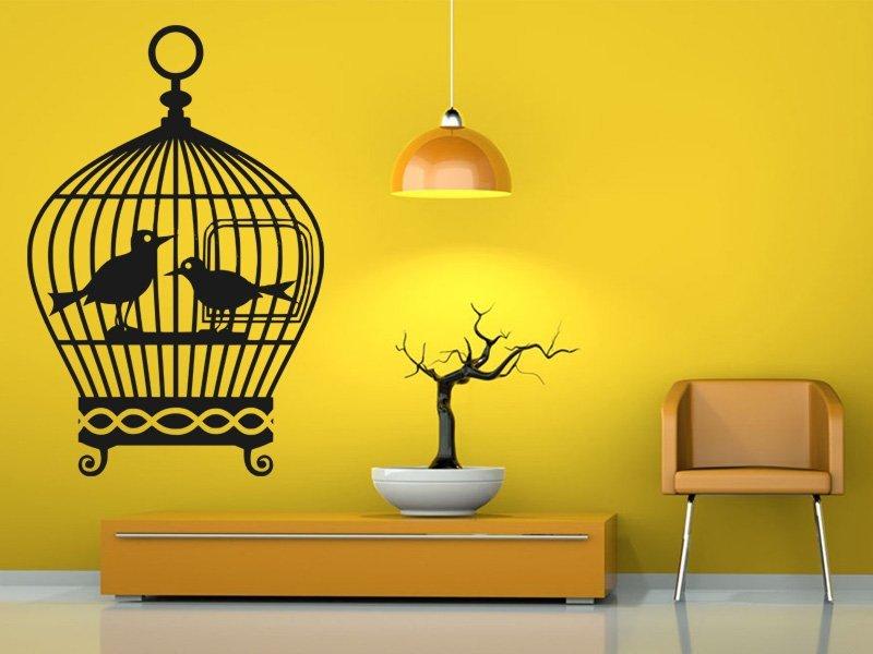 Samolepky na zeď Ptačí klec 001 - Samolepící dekorace a nálepka na stěnu