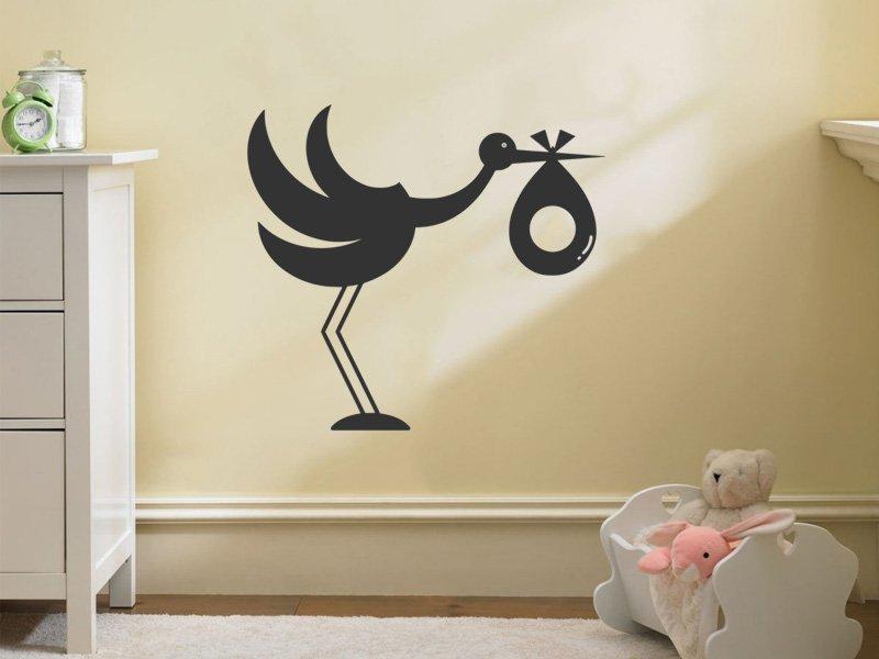 Samolepky na zeď Čáp s dítětem 001 - Samolepící dekorace a nálepka na stěnu