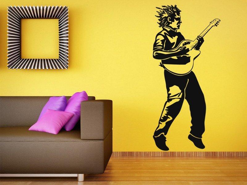 Samolepky na zeď Kytarista 001 - Samolepící dekorace a nálepka na stěnu