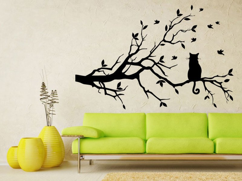Samolepky na zeď Kočka 004 - Samolepící dekorace a nálepka na stěnu
