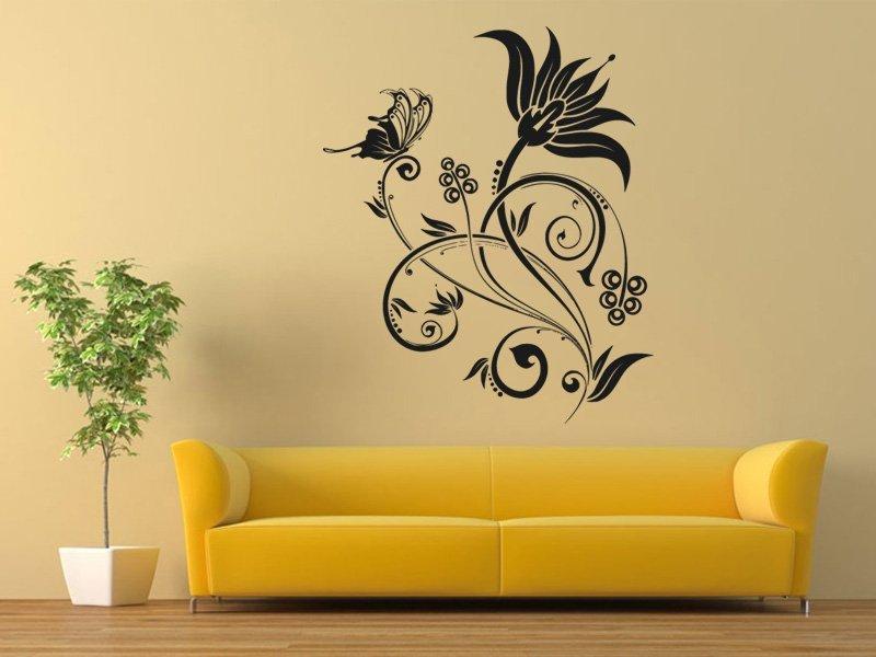Samolepky na zeď Květiny s motýly 019 - Samolepící dekorace a nálepka na stěnu