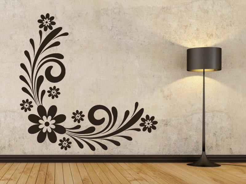 Samolepky na zeď Ornament s květinami 0178 - Samolepící dekorace a nálepka na stěnu