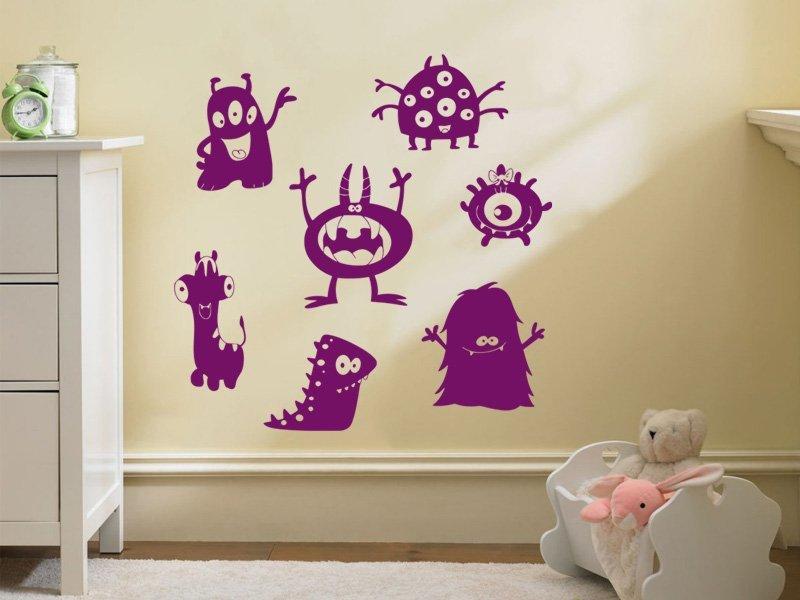 Samolepky na zeď Sada příšerek 001 - Samolepící dekorace a nálepka na stěnu