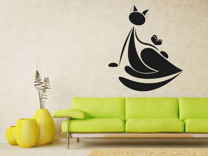 Samolepky na zeď Kočka 0434 - Samolepící dekorace a nálepka na stěnu