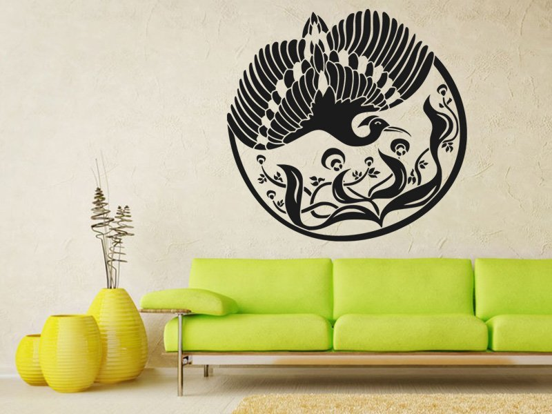 Samolepky na zeď Květiny s ptáky 002 - Samolepící dekorace a nálepka na stěnu