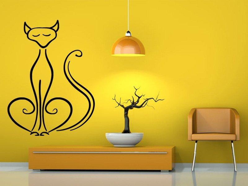 Samolepky na zeď Kočka 0436 - Samolepící dekorace a nálepka na stěnu