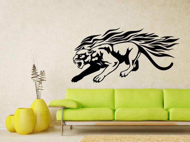 Samolepky na zeď Tygr s plameny 005 - Samolepící dekorace a nálepka na stěnu