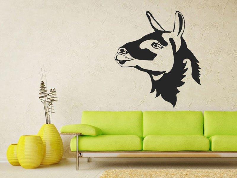 Samolepky na zeď Hlava lamy 0619 - Samolepící dekorace a nálepka na stěnu