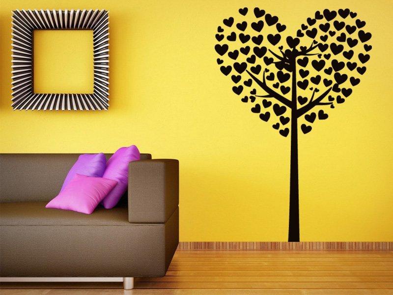 Samolepky na zeď Strom ze srdíček 0227 - Samolepící dekorace a nálepka na stěnu