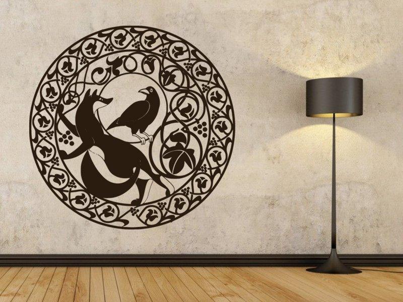 Samolepky na zeď Liška a havran 001 - Samolepící dekorace a nálepka na stěnu