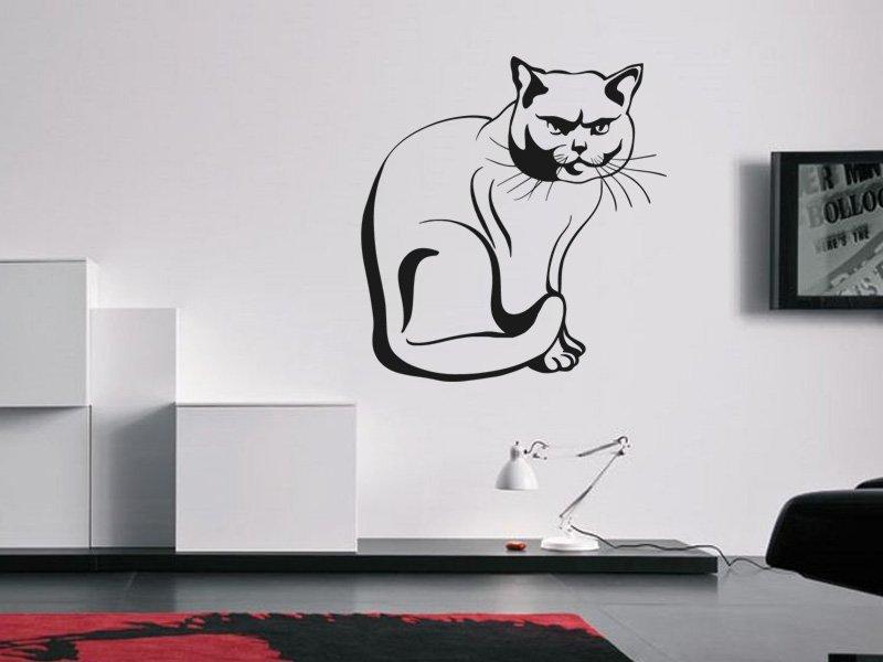 Samolepky na zeď Kočka 0432 - Samolepící dekorace a nálepka na stěnu