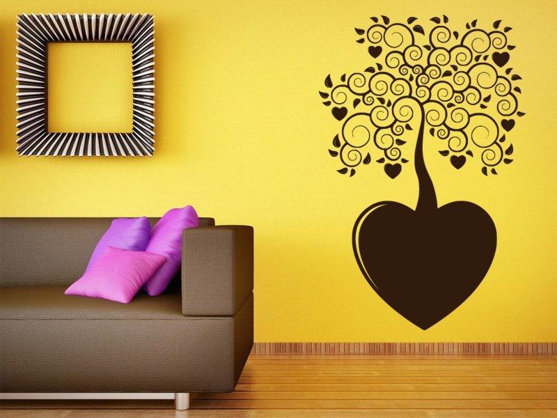 Samolepky na zeď Strom se srdíčky 0221 - Samolepící dekorace a nálepka na stěnu