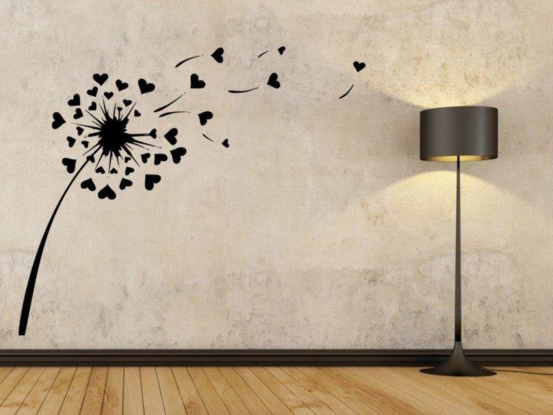 Samolepky na zeď Pampeliška se srdíčky 0181 - Samolepící dekorace a nálepka na stěnu